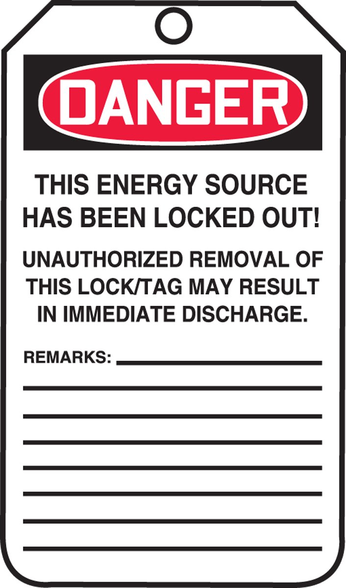 Accuform MLT402CTP PF-Cardstock Lockout Tag, Legend''DANGER DO NOT OPERATE ELECTRICIANS AT WORK'', 5.75'' Length x 3.25'' Width x 0.010'' Thickness, Red/Black on White (Pack of 25) by Accuform Signs (Image #2)