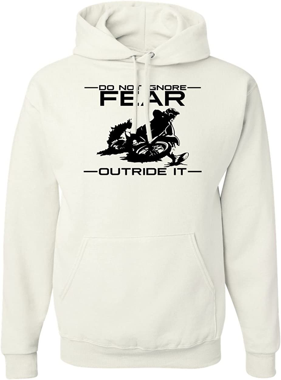 Small Do Not Ignore Fear White Outrun It Graphic Hoodies