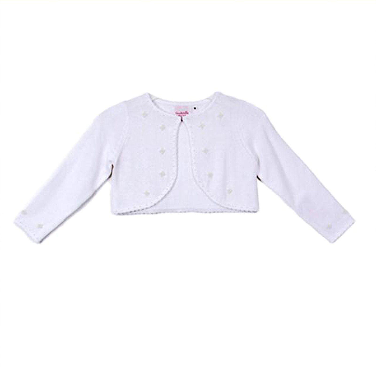Classy 3010 White Pearl Beaded Sweater for Girl - Size S (2-4)