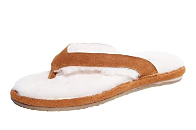 49db76fb4 U U Women s Tan Sheepskin Flip Flops Slipper with Geniune Leather Upper  Size 11 ...