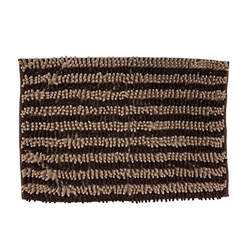 Dog Cat Pet Absorbent Microfiber Chenille Rug (24″x17″, Chocolate/Taupe)
