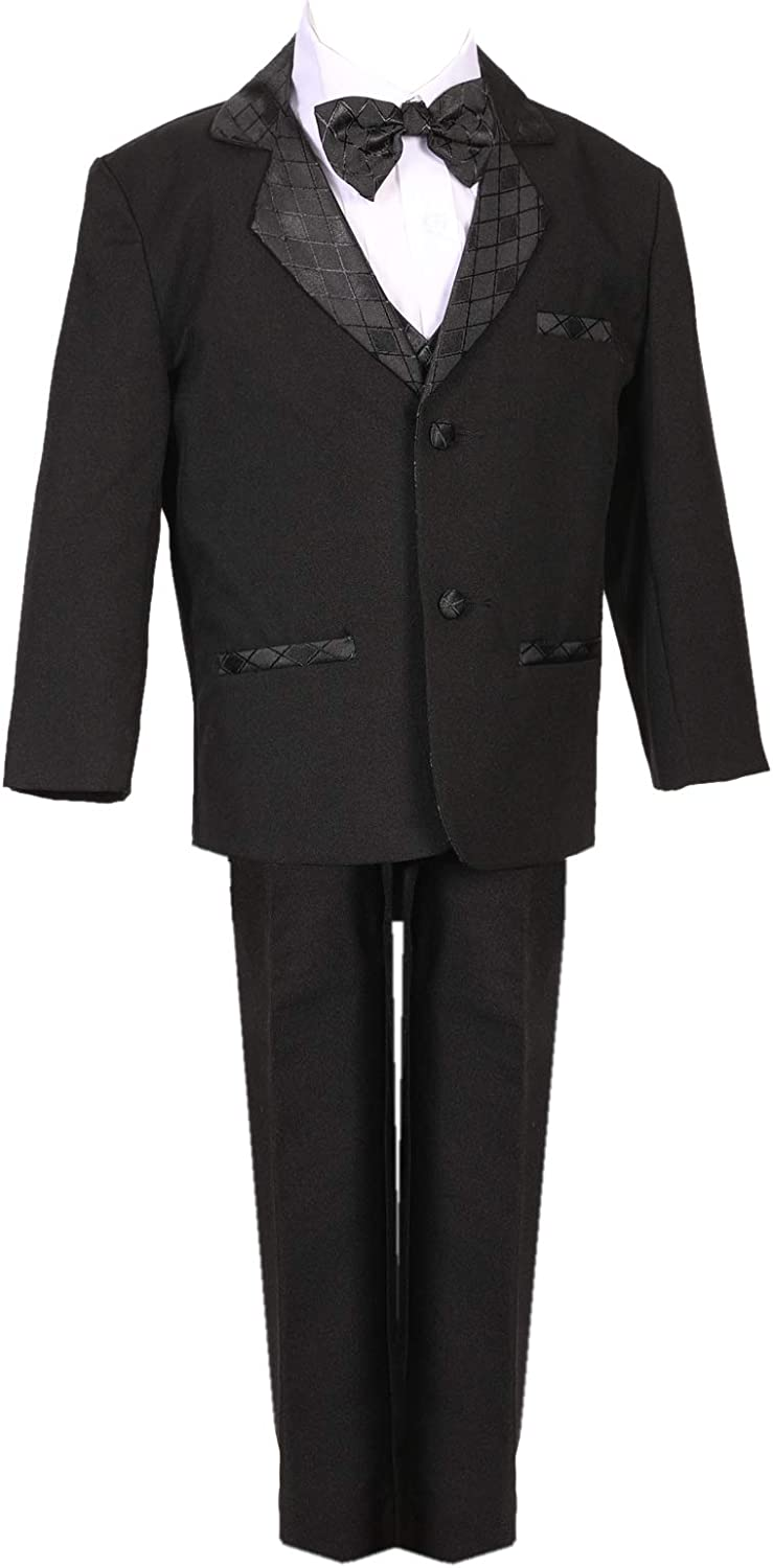 Tuxedo Boys Black Formal Suit with Bow tie and Vest with Diamond Patten