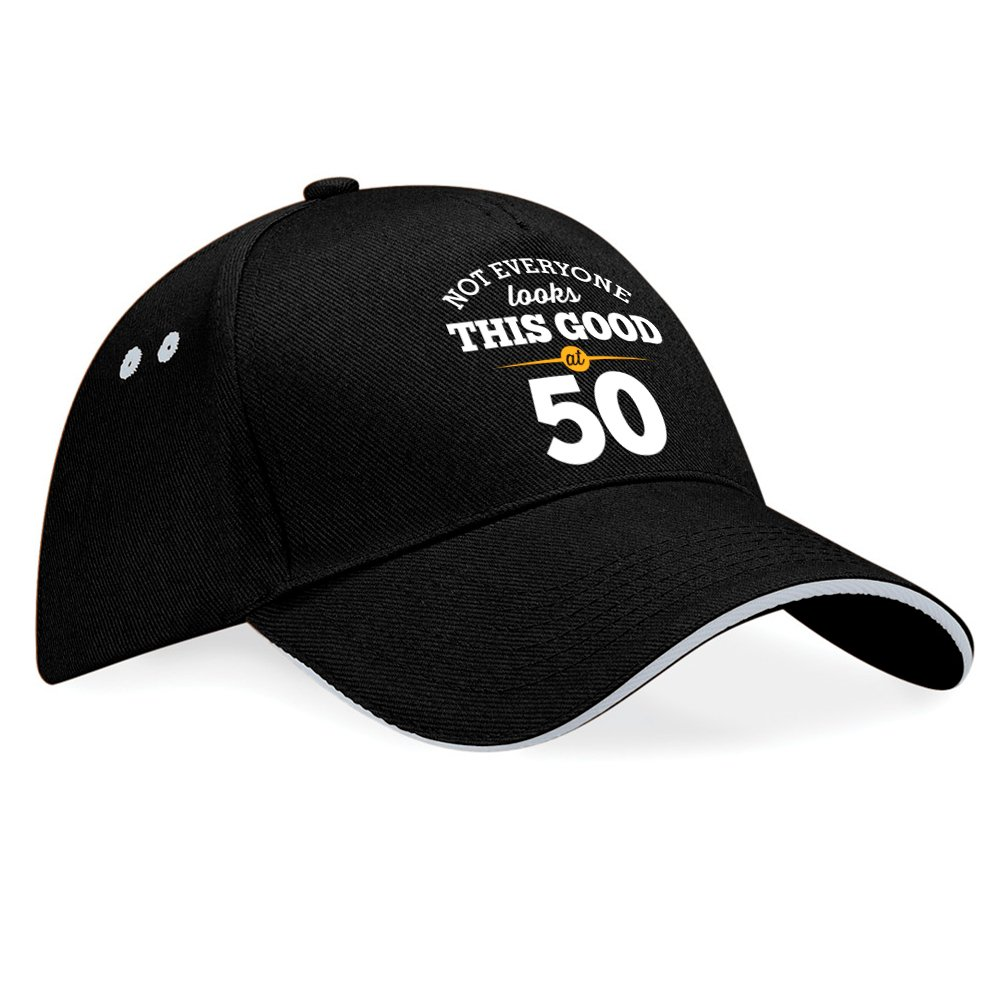 Tessuto Black Taglia unica Grey Trim Cappellino da baseball con visiera con scritta Not everyone looks this good at 50 regalo per 50/° compleanno per uomini e donne