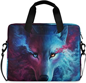 CCDMJ Laptop Case Animal Wolf Colorful Laptops Sleeve Shoulder Messenger Bag Briefcase Notebook Computer Tablet Bags with Strap Handle for Women Man Boys Girls 16 Inch