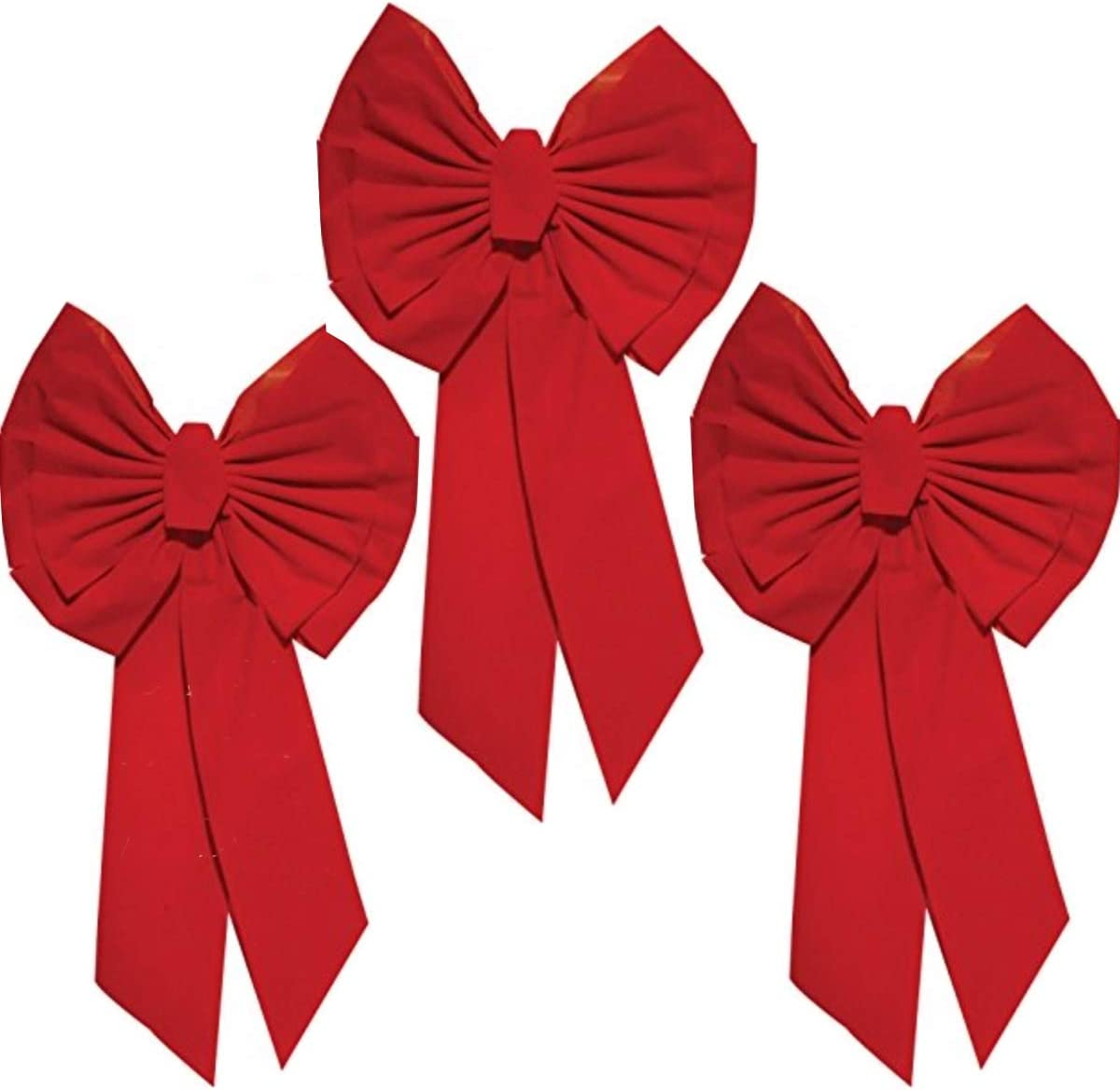 """Rocky Mountain Goods Red Christmas Bow Extra Large 35"""" by 18"""" - 11 Looped Waterproof Velvet Large Outside Bow - Bow for car, Door, House - Jumbo Red Bow with Attachment for Hanging (3)"""