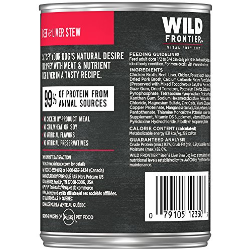 Picture of Nutro Wild Frontier Grain Free Adult Canned Wet Dog Food Chunks In Gravy Large Prey Recipe Beef Stew With Nutrient Rich Liver, (12) 12.5 Oz. Cans
