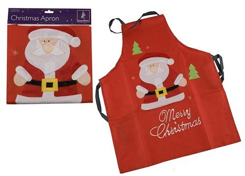 Red Christmas Apron - Father Christmas design: Amazon.co.uk ...