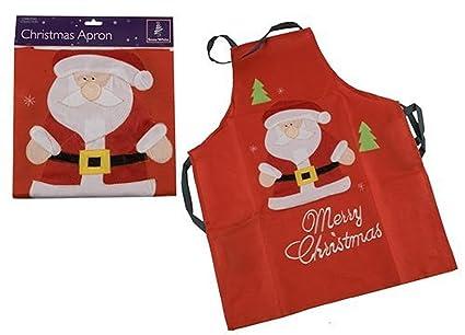 Bright Ideas Delantal de Navidad con diseño de Papá Noel, color rojo