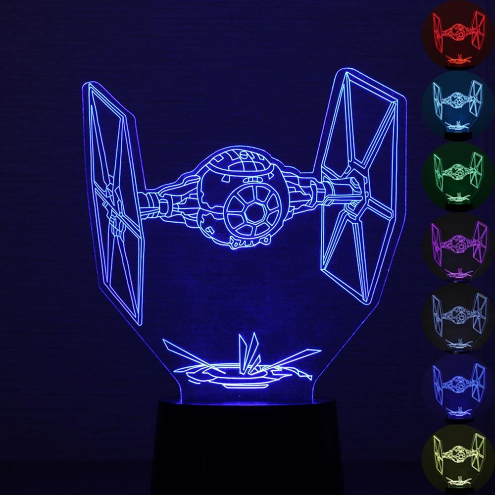 Aolvo Star Wars Night Light, 3D Optical Illusion TIE Fighter Table Desk Lamp, 7 Colors Gradual Changing Star Wars Spaceships Touch Switch USB Table Lamp for Holiday Gifts or Home Decorations