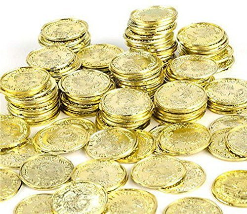 Unbranded 1000 Plastic Pirate Gold Play Toy Coins Birthday Party Favors Pinata Money Coin]()