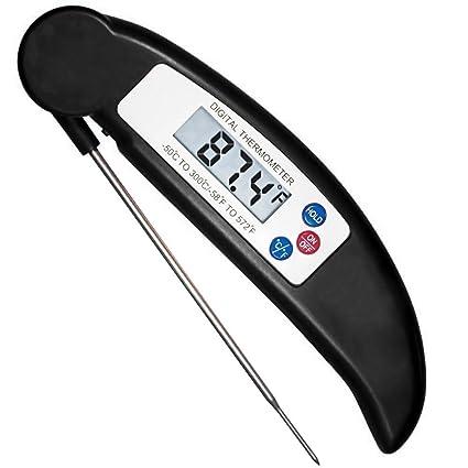 HOTSO Plegable Termómetro Digital de Cocina con Pincho de Acero Inoxidable Leer Rápida Medir Temperatura de