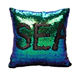 Toys : Idea Up Reversible Sequins Mermaid Pillow Cases 4040cm with magic mermaid sequin (mermaid green and black)