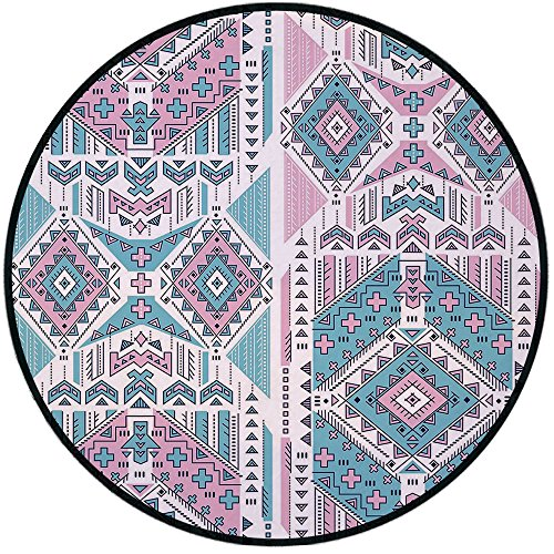Printing Round Rug,Tribal,Geometric Bohemian Ethnic Aztec Design Vintage Stylized Pastel Colors Art Mat Non-Slip Soft Entrance Mat Door Floor Rug Area Rug For Chair Living Room,Pale Pink and Teal