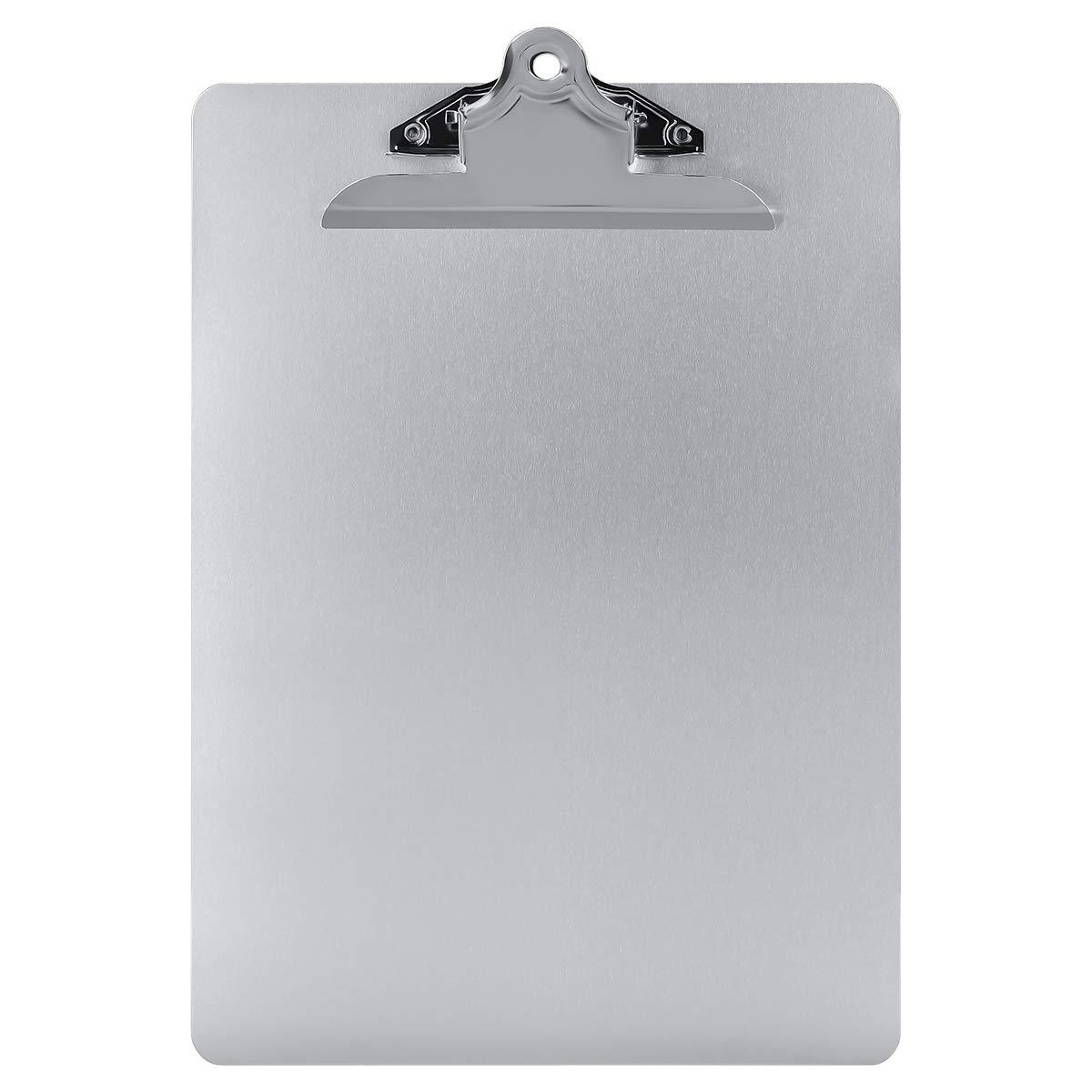 Aluminum Clipboard Paper Holder Steel Metal Clipboard - 9x12.5 Letter Size, File A4 Binder Holder for Office School Worker Business SUNNYCLIP