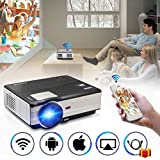 Wifi Wireless Video Projector LED LCD 3500 Lumens, Full HD 1080P LED Home Theater Movie Projectors for iPhone iPad With HDMI USB Headphone Jack TV Speaker & Multimedia Smart Beamer Indoor Outdoor