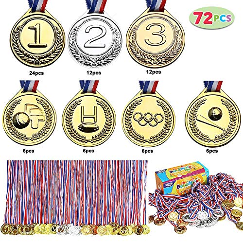 (Joyin Toy 72 PCs Gold Medals for Party Favors, Classroom Rewards, Game Prizes (Gold, Silver, Bronze, Football, Basketball, Baseball and Olympic Award)