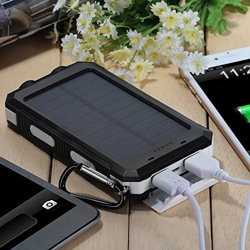 TKSTAR Solar Charger,10000mAh Solar Power Bank With Dual USB Charging Port External Battery Pack For Mobile Phones, PSP, MP3, MP4 And Other Digital Products (black)