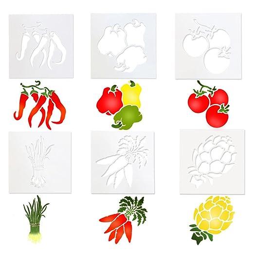 Ai-life 6 Piezas verdura e frutta plástico Dibujo Pintura ...