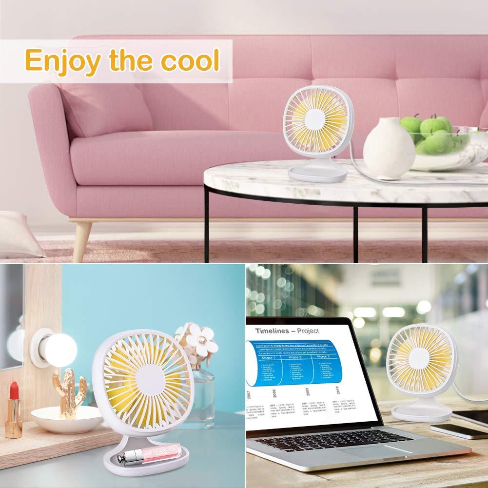 Mini Ventilatore Portatile con 3 Velocit/à Regolabile Potente per Scrivania Tavolo PC Powerbank Casa Ufficio Viaggio Bianco ACTOPP Ventilatore USB