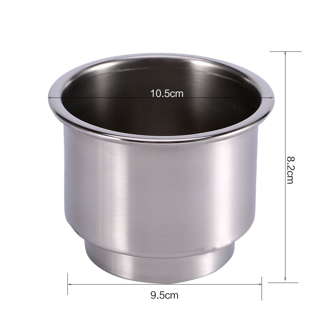 2Pcs Stainless Steel Cup Drink Bottle Holder Silver Cup Holders for Marine Boat RV Camper