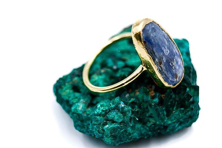 Amazon com: Raw Blue Kyanite Ring - Alternative Engagement
