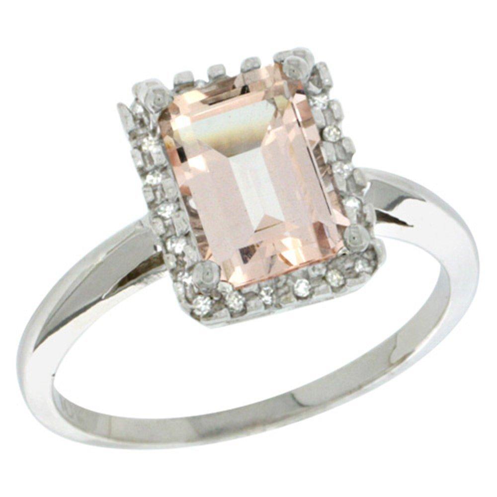 Sterling Silver Diamond Morganite Ring Emerald-cut 8x6mm, 1/2 inch wide, size 7.5