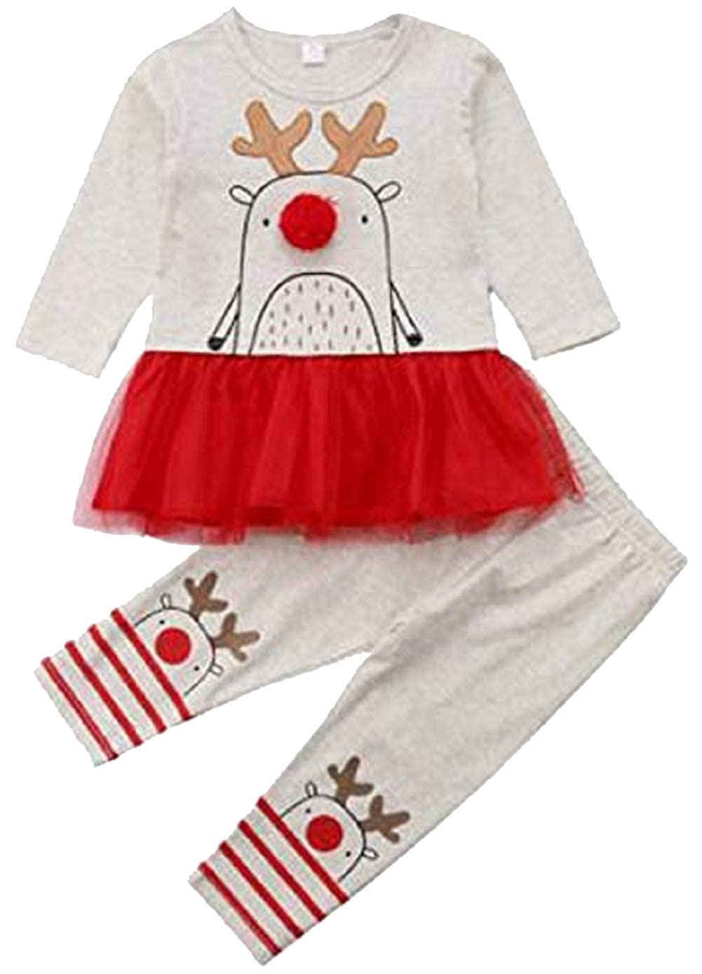 SUPEYA Baby Girls Christmas Cartoon Elk Print Dress Tops+ Leggings 2Pcs Sets Outfits