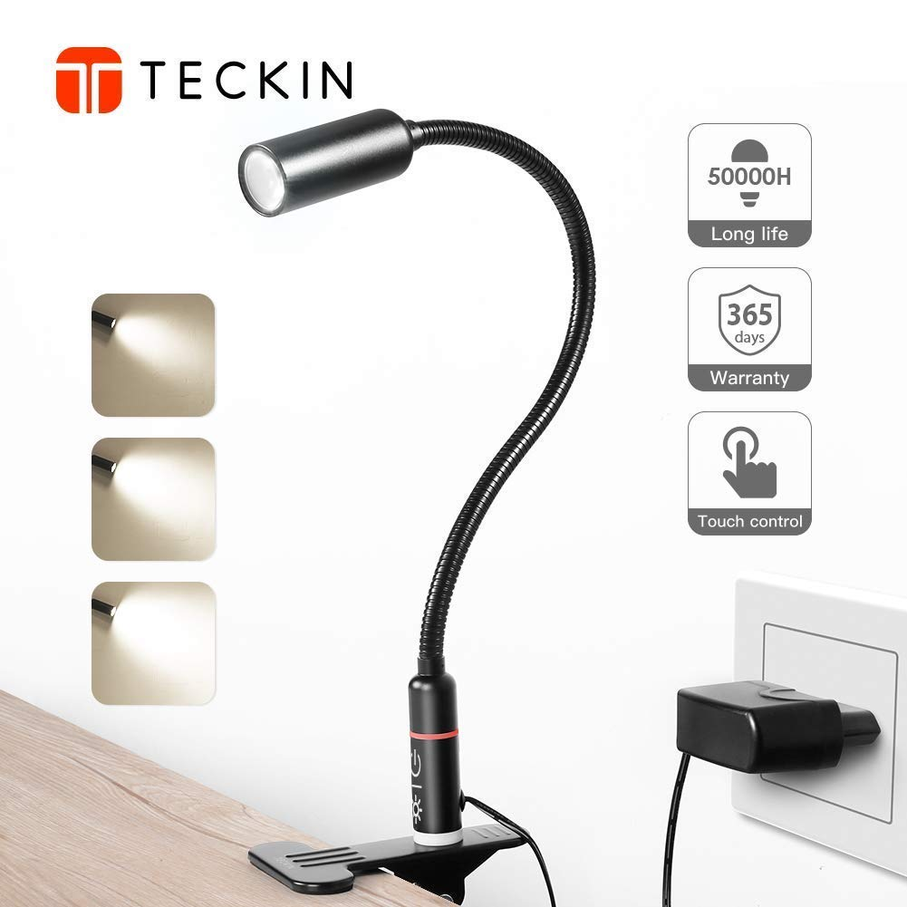 Clip on Lamp/Reading Light/TECKIN LED Desk Lamp /3 Brightness Modes/360 ° Flexible Neck,Touch Control Eye-Care Night Book Light Perfect for Desk,Computer and Bed Headboard (AC Adapter Included)