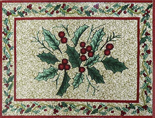 MyMadison Home Set of 6 Dinner Dining Table Placemats 100% Cotton Maple Leaves Cherry Designer Jacquard Collection, Machine Washable, Anti-Skid Everyday Use (13 X 18 Inch)