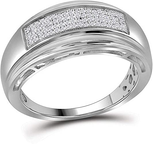 G-H,I2-I3 1//5 cttw, Diamond Wedding Band in Sterling Silver Size-6