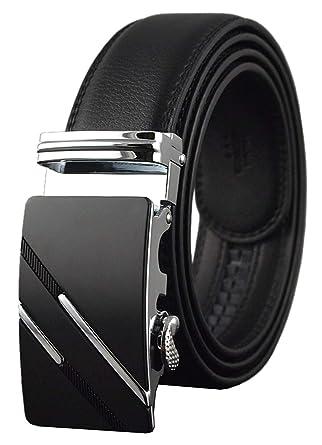 QISHI YUHUA Men s Leather Ratchet Dress Black Belt with Automatic Buckle ,137-35 b2b75aa1c7a
