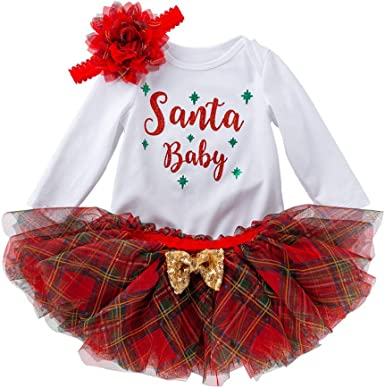 Unique Baby Girls My First Christmas Long Sleeve Tutu Dress