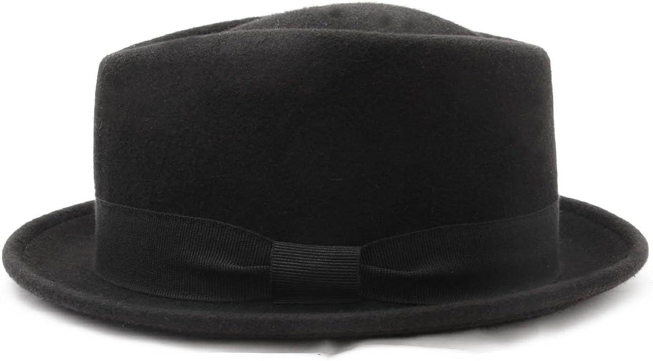 Classic Italy Diamond Porkpie Wool Felt Pork Pie Hat