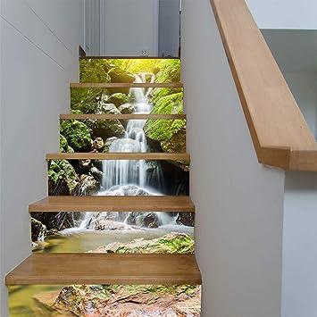 Pegatinas De Escalera 3D Cascada Alpina Casa Escaleras Adhesivos Pasillo Escaleras Adhesivos Decorativos: Amazon.es: Bricolaje y herramientas