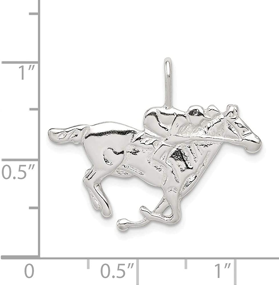 Sterling Silver Jewelry Pendants /& Charms Solid Polished Horse Pendant
