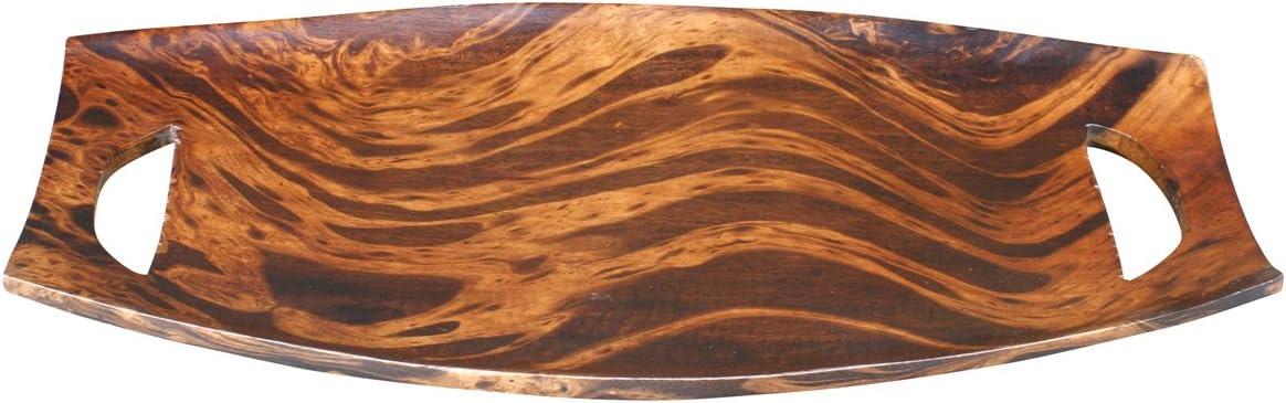 thai4living Deko Holzschale Obstschale Dekoschale Tablett Oval Mangoholz Handarbeit Unikat Dunkel Braun 3,5x24,5x46cm