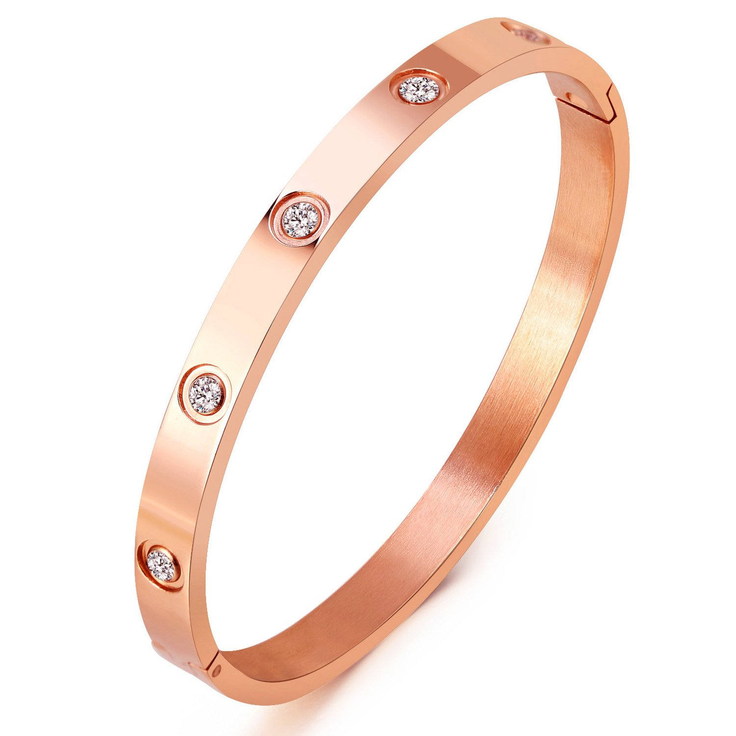 MVCOLEDY Mocalady Jewelry Rose Gold Plated Bangle Bracelet Set in Stone Stainless Steel All CZ Crystal Bangle Bracelets for Women Jewelry Size 6.7''