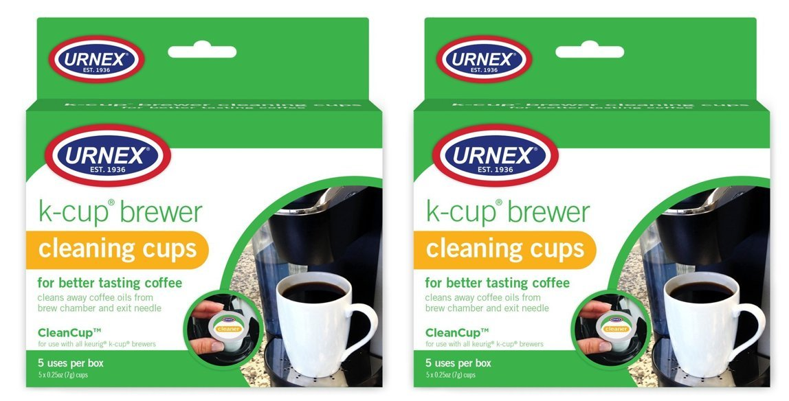 Urnex K-Cup Coffee Maker Cleaner - 5 Pods - 2 Pack - Coffee Cleaner Use With Keurig and K Cup Machines