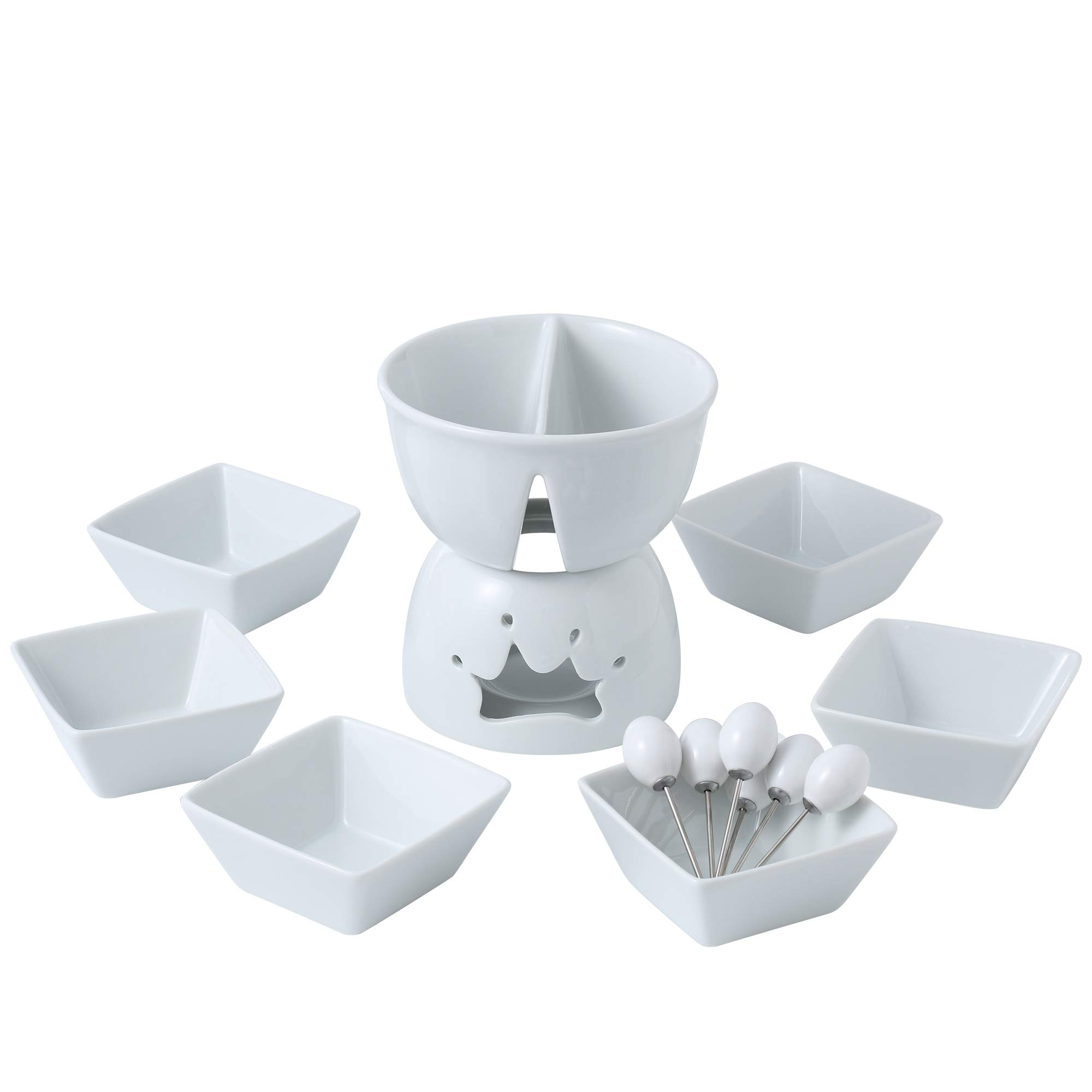Malacasa Series Favor Two Compartments Ivory White Ceramic Porcelain Tealight Candle Cheese Butter Chocolate Fondue Set with 6 Dipping Bowls 6 Forks, 10.8 x 8.3 x 6.8 inches,