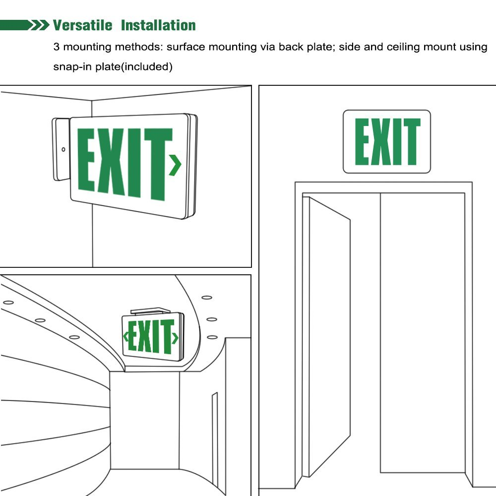AC 120V/277V Single/Double Face LED Exit Sign - Green Letter UL-Classified  with Battery Backup Ceiling/Side/Back Mounting LED Indicator Exit Light for  ...