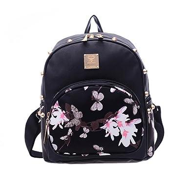 AMA(TM) Women Girls Leather Backpack Satchel Travel Shoulder Bag Schoolbags (Black 1)