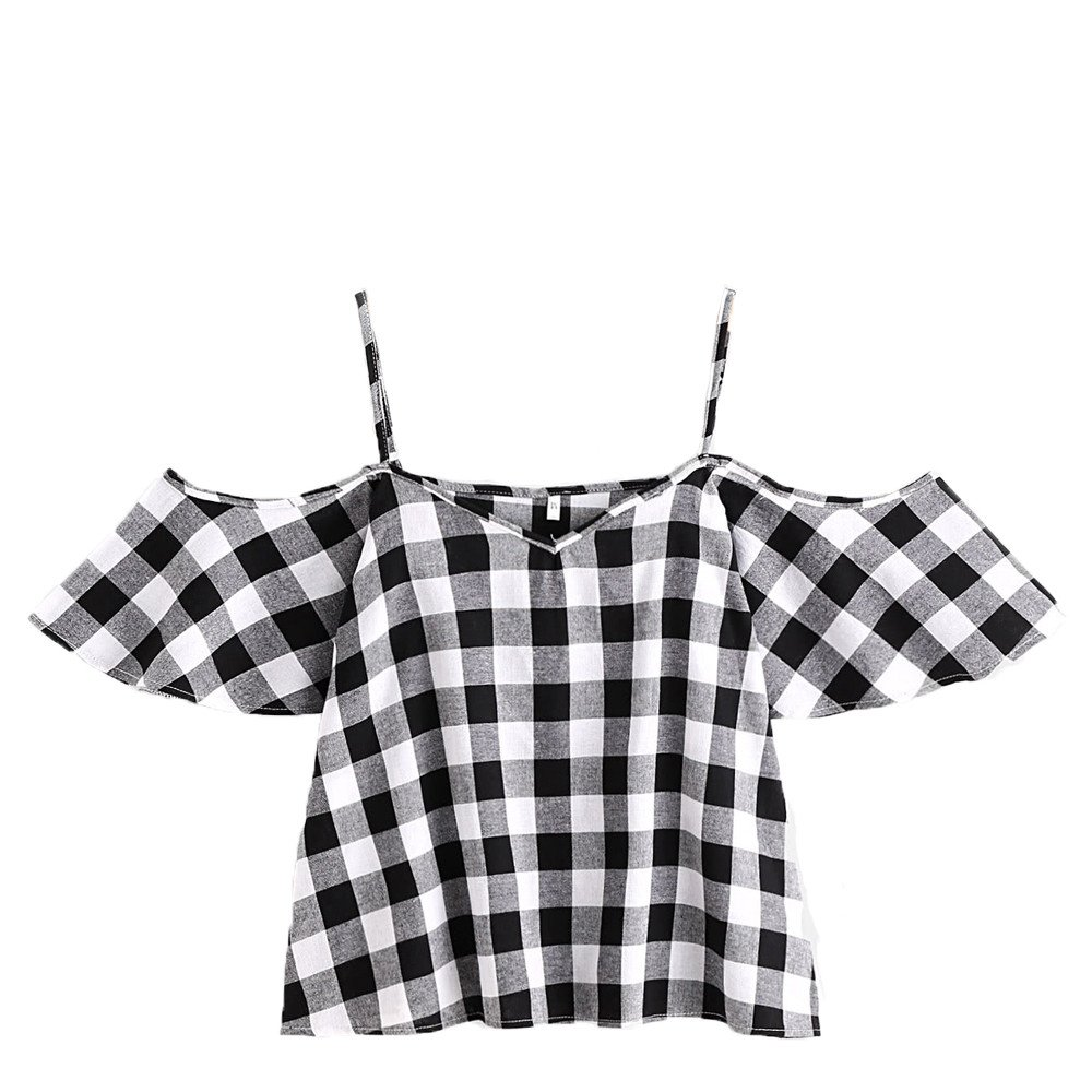 Shirts for Girls Short Sleeve Sexy Ladies Summer Plaid Printed Cold Shoulder Strap Flare Sleeve Tops Blouse Gray
