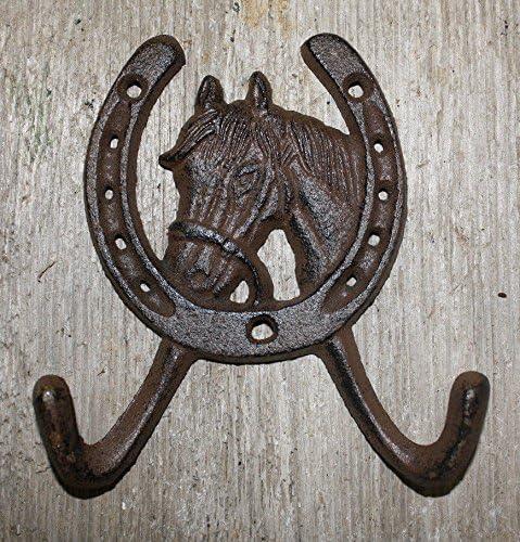 Cast Iron Rustic Ranch HORSE HEAD 2 HOOK Coat Hooks Rack Towel HorseShoe