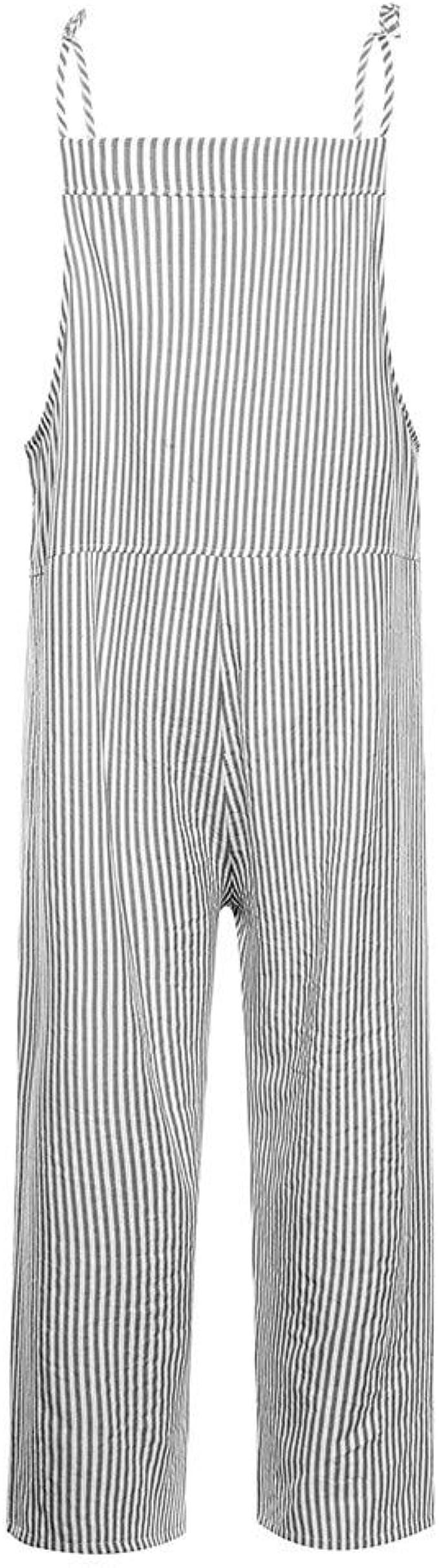 PARVAL Mujer Jumpsuit Retro de Mujer Raya Babero Overol Bolsillos Vendaje Mono sin Mangas Body Romper Casual Largo Harem Playsuit Pantalones Pantalones Overoles