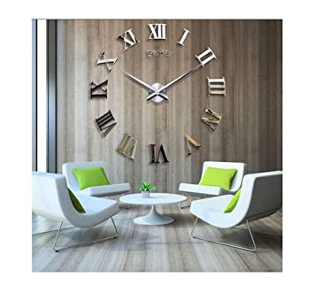 Time Letters Roman Numerals Large Size Modern DIY Frameless 3D Big Mirror  Surface Wall Clock Oversized Clock Removable Home Decoration Living Room ...