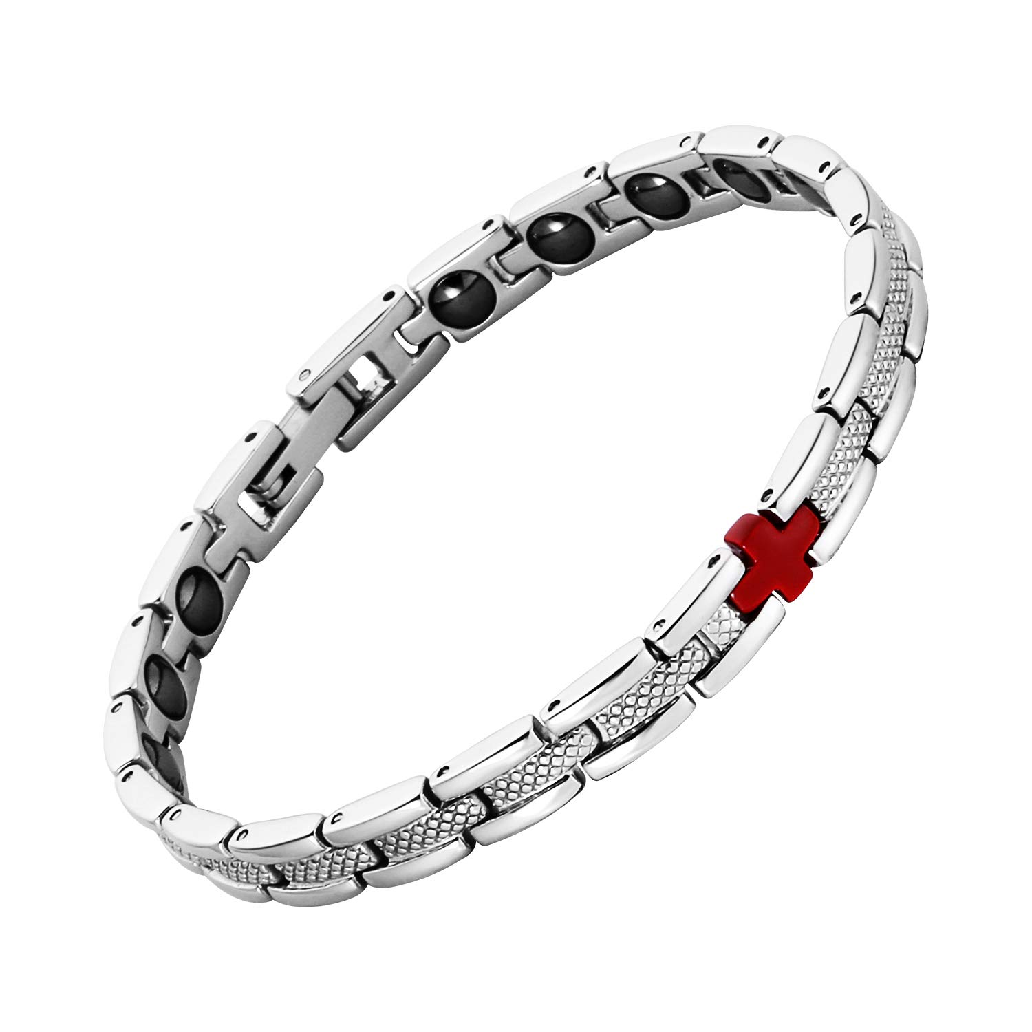 iZion Magnetic Therapy Bracelet Pain Relief for Arthritis Stainless Steel Health Wristband Gift for Women with Free Link Removal Tool (White)