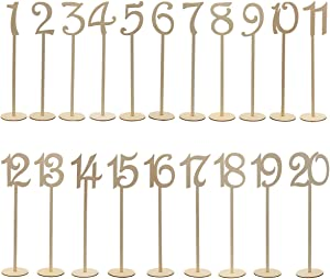 ULTNICE 20pcs 1-20 Wooden Table Numbers Holder with Base for Wedding Party Banquet Home Decor