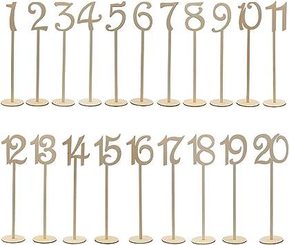 OULII 1-20 números de mesa de madera con Base de soporte para la ...
