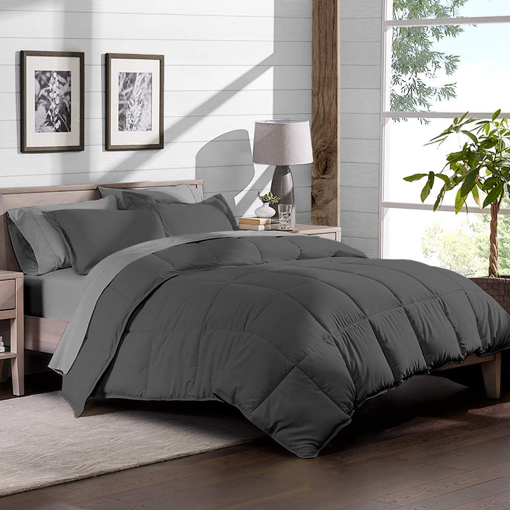 Bare Home 7-Piece Bed-in-A-Bag - California King (Comforter Set: Grey, Sheet Set: Light Grey
