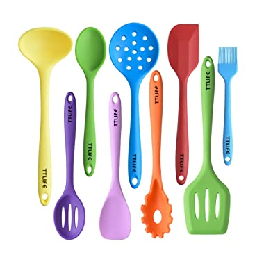 Silicone Utensils Kitchen Colorful 9 Pieces with Turner, Spatula, Soup Ladle,Brush,Long Handle Shovel,Long Spoon,Slotted Spoon,Shovel Spoon,Colander …